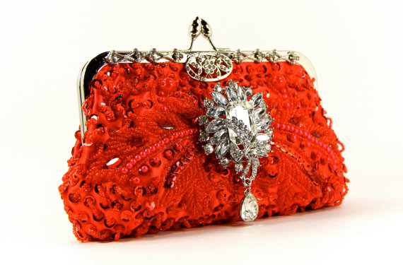 Mariage - Red Beaded Evening Bag- Red Beaded Clutch - Gorgeous Red beaded wedding purse, Evening Bag - Red Purse