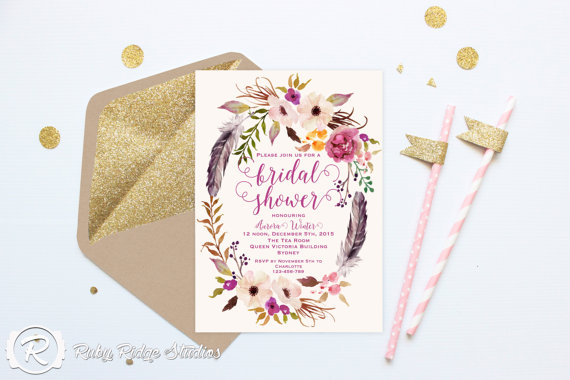 Printable bridal shower invitation romantic watercolor for Bridal shower kitchen tea ideas fashion