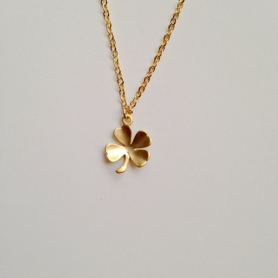 Clover necklace in gold lucky charm irish wedding bridesmaid clover necklace in gold lucky charm irish wedding bridesmaid shamrock necklace everyday jewelry minimalist aloadofball Gallery