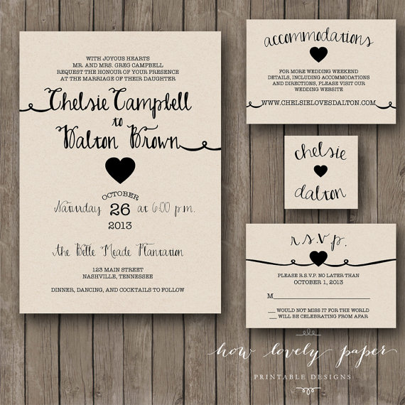 زفاف - Printable Wedding Invitation Suite - the Rayna Collection