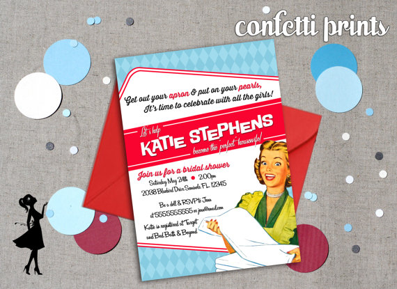 Retro Housewife Bridal Shower Invitation Perfect Housewife