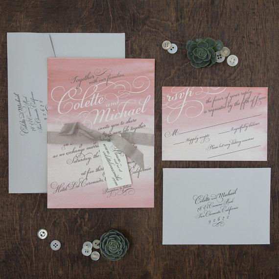 Watercolor Wedding Invitation, Rustic Invitation, Watercolor Wash, Outdoor Wedding  Invitation, Coral And Grey DEPOSIT