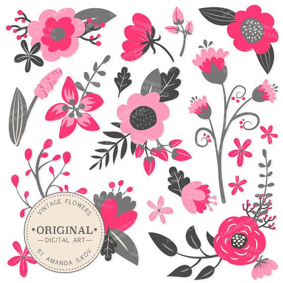 Premium hot pink floral clipart flower vectors pink flowers premium hot pink floral clipart flower vectors pink flowers vintage flowers flower clip art vector flowers mightylinksfo