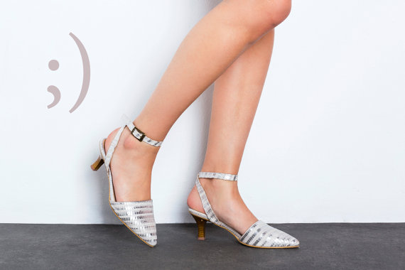 Silver Heel Shoes - Ankle Strap Silver And White Kitten Heel Shoes ...