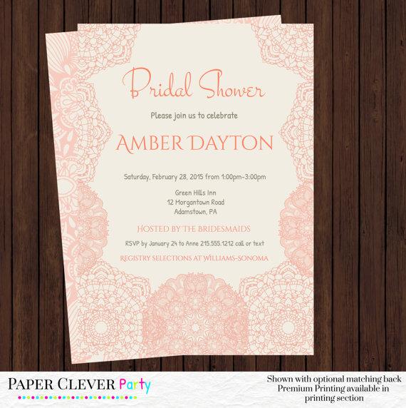 زفاف - Bridal Shower Invitations Vintage Cream and Blush Lace - Wedding shower Invites Digital Design or Printed Pick Your Colors