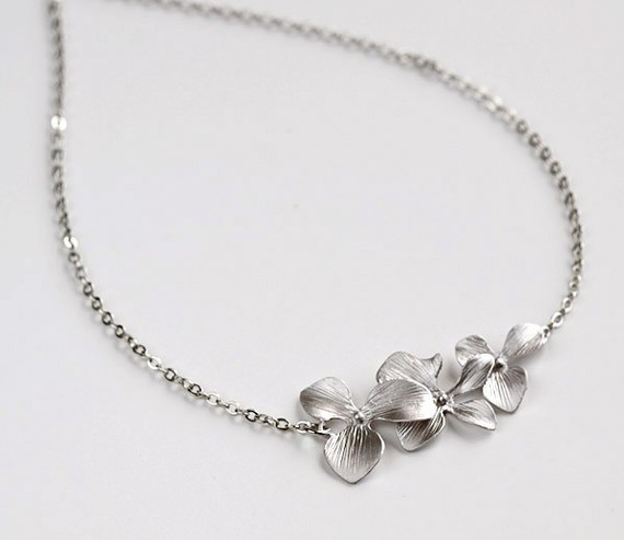 Свадьба - Silver Orchid Necklace, Trio Flowers, bride bridal wedding jewelry, by balance9