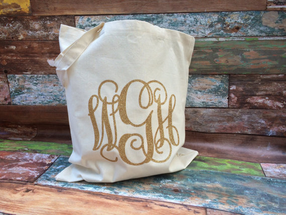 Wedding - Monogrammed Tote Bag, Monogrammed Bridesmaid Gifts, Glitter Monogram Bag, Monogrammed Bag