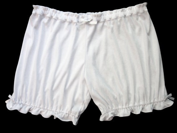 Wedding - Womens Bloomers -XL/1X Size - White with White Bows