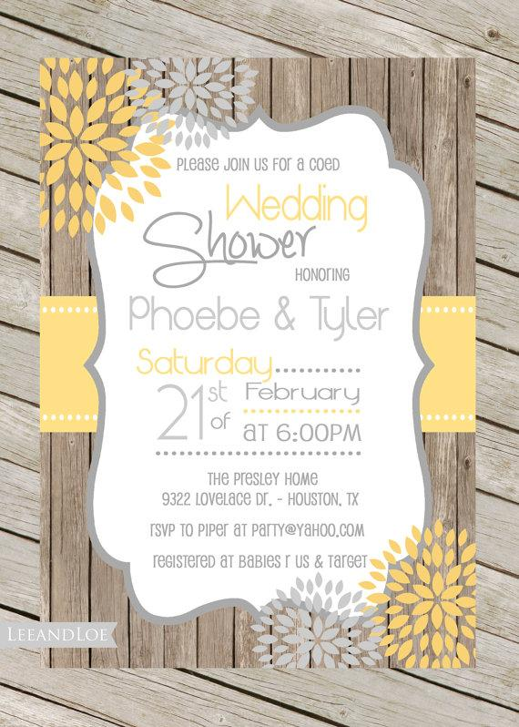 rustic wedding shower invitation coed bridal shower engagement couples wood yellow grey digital