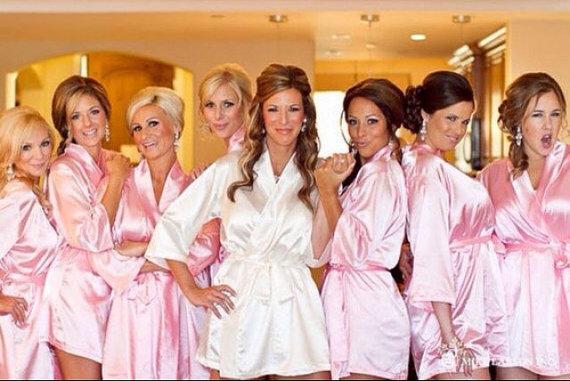 Set Of 6 Bridesmaid Robe Satin Silk Personalized Bridesmaid Robes Wedding Party Monogrammed