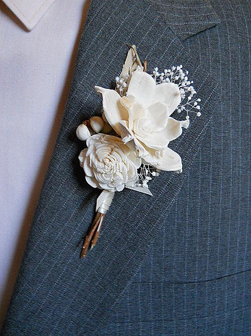 زفاف - Boutonniere, Sola Flowers, Rustic, Country, Winter, Woodland, Wedding, Corsage, Boutonniere. Made to Order.