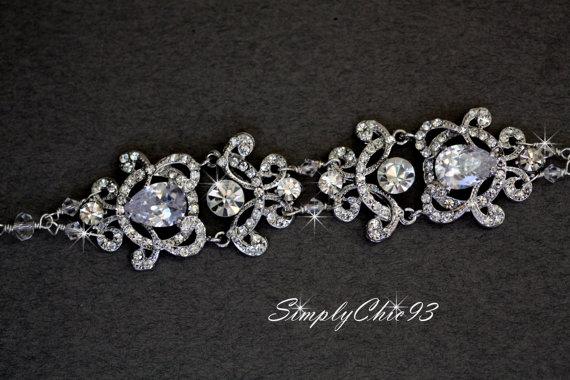 زفاف - Wedding Bracelet, Bridal Bracelet, Crystal Flower Bracelet, Victorian Bracelet, Vintage Style jewelry, Swarovski Bracelet, (Veronica)