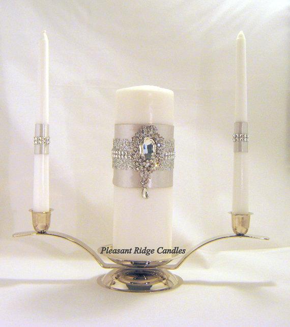 Mariage - Rhinestone Unity Candle Silver Unity Candle White Unity Candle Ivory Unity Candle Bling Unity Candle Wedding Candle Cheap Unity Candle