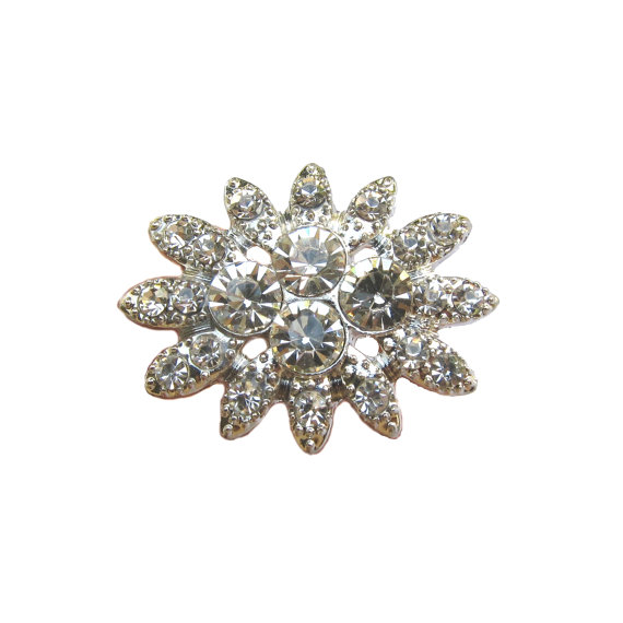 Свадьба - 5 Crystal Rhinestone buttons for Wedding Hair Accessories Scrapbooking Invitation Card RB-079C (29mm or 1.1 inch)
