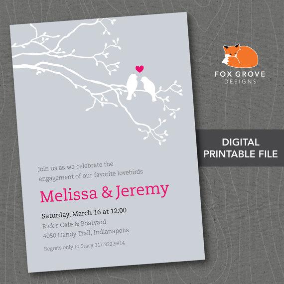 """زفاف - Printable Engagement Party Invitation """"Lovebirds"""" / Customized Digital File (5x7) / Printing Services Available"""