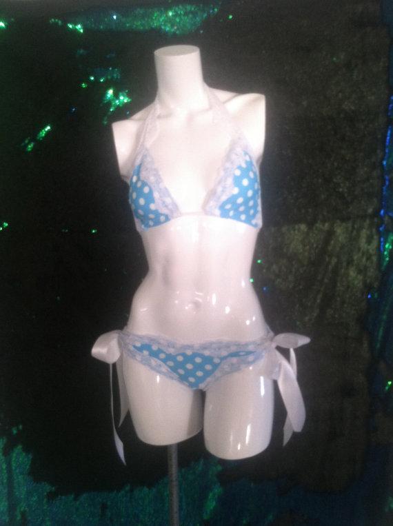 زفاف - Pink polka dot scrunch butt bikini ,lace trim ,lingerie ,stripper outfit ,pin up bikini , exotic dancer ,pole dancer