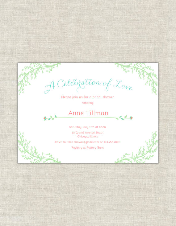 زفاف - Mint Green & Coral Bridal Shower Invitations, Petite Garden Bridal Shower Invites, Tiffany Blue Invitation, Coral Wedding Shower, minimalist