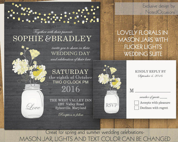 Wedding - Mason Jar Wedding Invitations- Rustic Mason Jar Country Wedding Invitations with Flowers and dangling lights  - on wood grain background