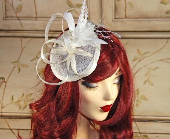 Ivory Fascinator Hat - Cream Kentucky Derby Fascinator - Mini Hat Fascinator  - Tea Party Fascinator - Wedding Fascinator - British Hat 3bd9622ab42