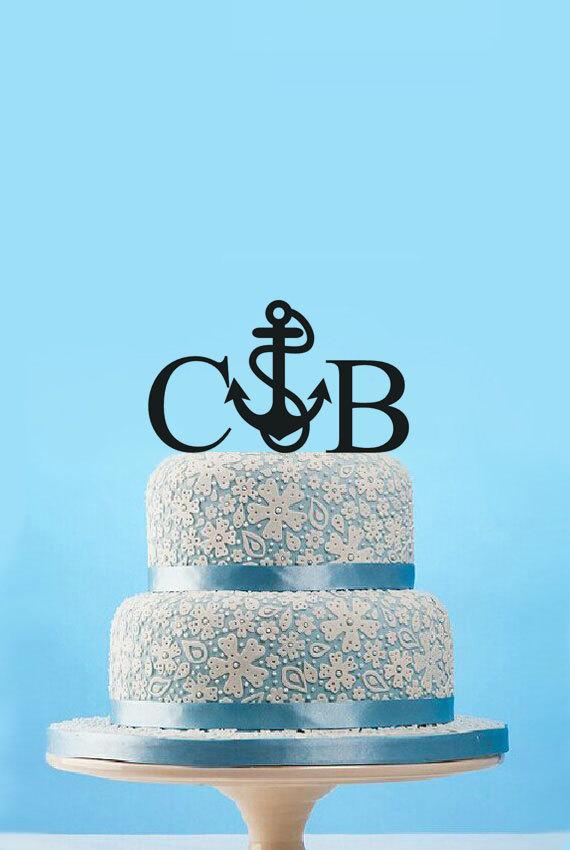 Nautical Anchor Wedding Cake Topper