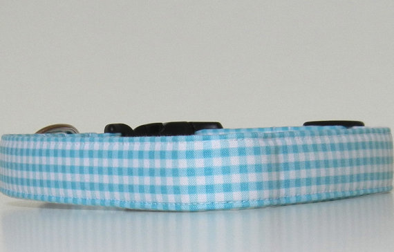 Свадьба - Aqua Blue Gingham Dog Collar Wedding Accessories Easter Collar Made to Order