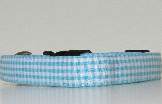 زفاف - Aqua Blue Gingham Dog Collar Wedding Accessories Easter Collar Made to Order