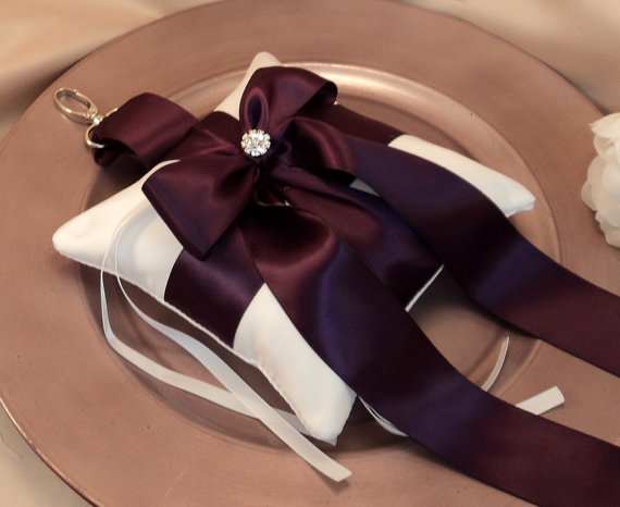 Свадьба - Pet Ring Bearer Pillow with Vibrant Rhinestone Accent...Made in your custom wedding colors...show in white/plum purple