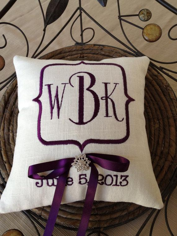 Mariage - Monogram Embroidery Ring Bearer Pillow