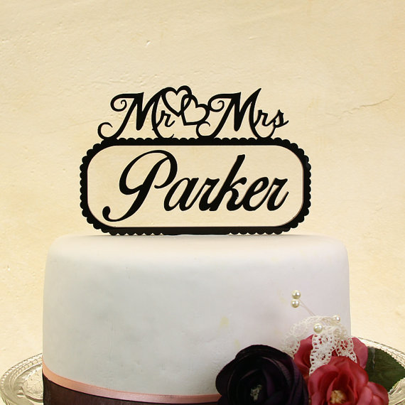 Mr And Mrs Retro Wedding Cake Topper Personalized In Your Name With Floating Letters Distinctly Inspired Style BL 1