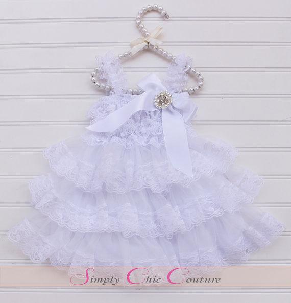 زفاف - White Christening Dress, White Baptism Dress, White Lace Rustic Flower Girl Dress, Country Chic Flower Girl Dress, Rustic Lace Wedding Dress