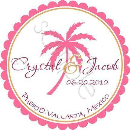 Свадьба - Tropical Palm Tree Personalized Stickers - Wedding Stickers, Destination Wedding, Favor Labels, Envelope Seals, Beach - Choice Of Size