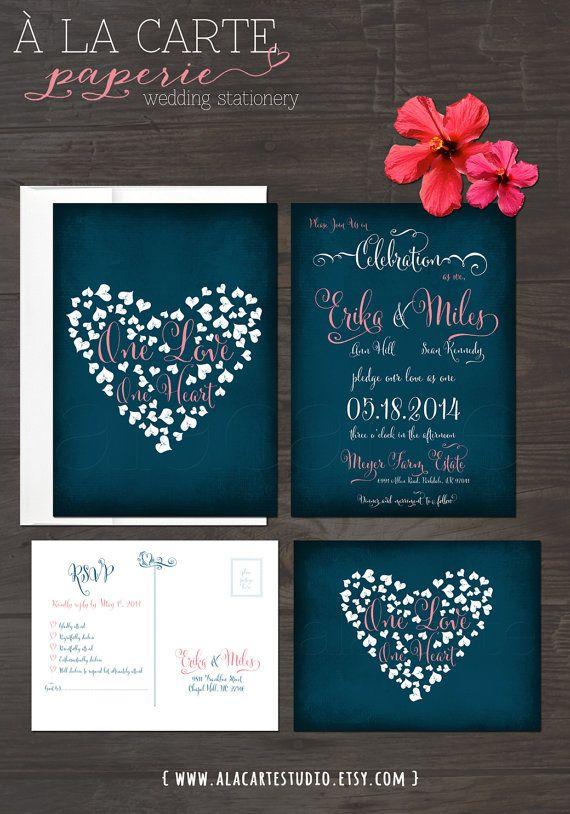 زفاف - One Love, One Heart - Navy Blue Chalkboard Wedding Invitation Card And RSVP Postcard