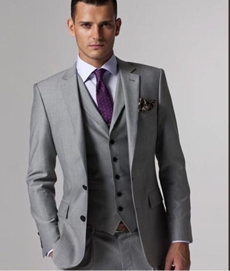 Custom Made Slim Fit Groom Tuxedos Light Grey Side Slit Best Man ...