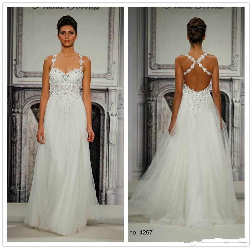 Backless wedding dresses 2015 pnina tornai a line lace for Backless wedding dresses online