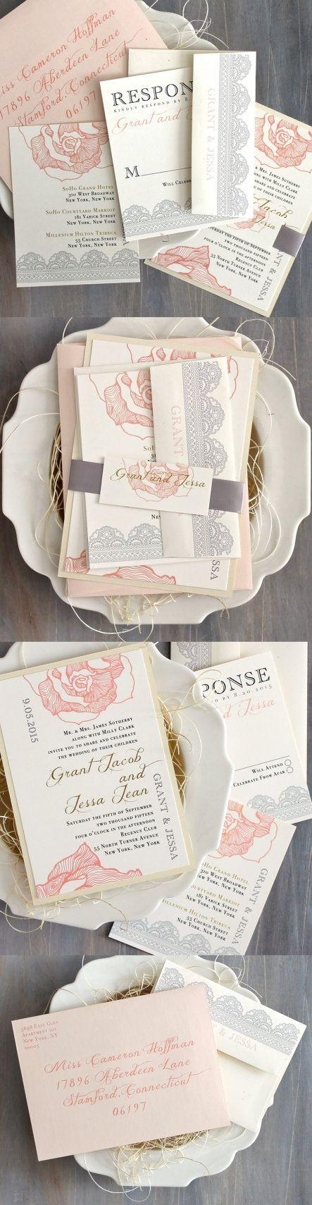 "زفاف - Lace Wedding Invitation, Blush Peach, Pink Wedding Invitations, Romantic Invites - ""Ruffled Romance"" Sample"