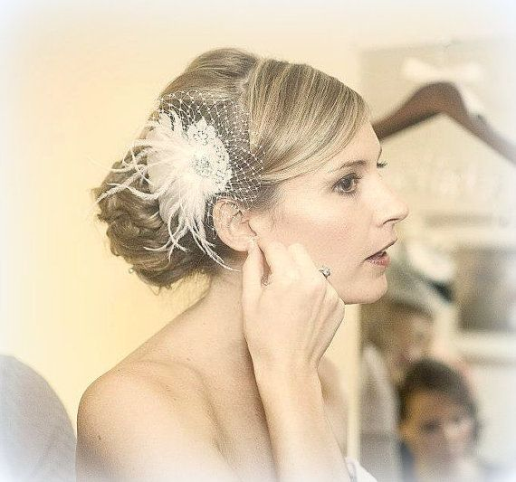 Mariage - Wedding Bridal Hair Fascinator, Feathers French Net Lace Rhinestone Jewel Feather Hair Clip