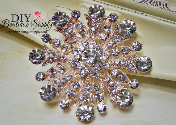 Свадьба - Rose Gold Brooch Crystal Brooch Rhinestone Brooch Bouquet Crystal Wedding Bridal Accessories Sash Pin Cake Brooch 55mm 680250