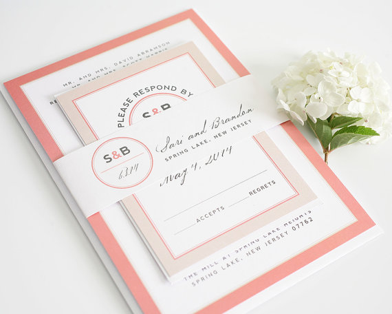 Wedding - Blush Wedding Invitation - Coral, Gray, Peach, Modern, Monogram - Modern Circle Logo Wedding Invitation Sample Set