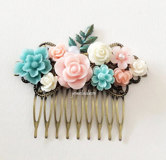 Boda - Pastel Pink Blue Wedding Bridal Hair Comb Light Turquoise Blush Floral Headpiece Bridesmaids Gift Flower Hair Pin Hair Slide Shabby Chic