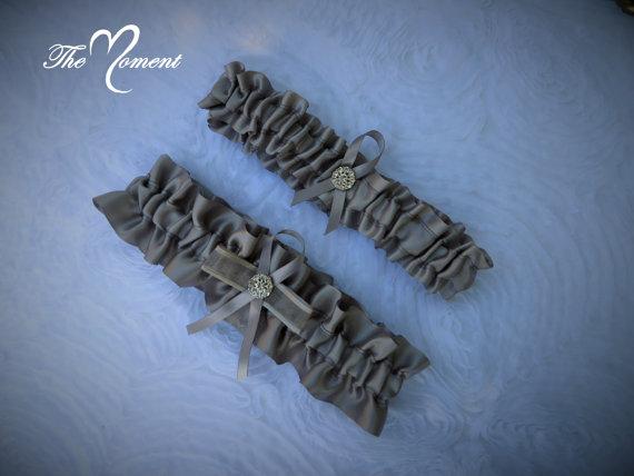 Mariage - Bridal Garter, Wedding Garter, Silver Garter Set, Keepsake and Toss-away Garter Set, Ribbon Garter, Prom Garter, Silver Garter