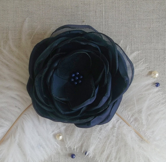 Navy Blue Fabric Flower In Handmade Bridal Hair Shoe Dress Accessory Something Bridesmaids Clip Brooch Weddings