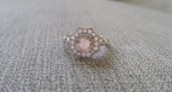 "Wedding - Halo Morganite Diamond Ring Gemstone Engagement Ring Antique Flower Peach Pink Octagon Cushion Round 14K White Gold Vintage ""The Elsa"""