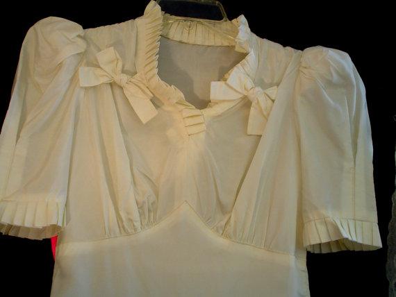 Mariage - 30s XS Taffeta Bridal Wedding Gown Dress & Slip Nightie Veil Candlelight White