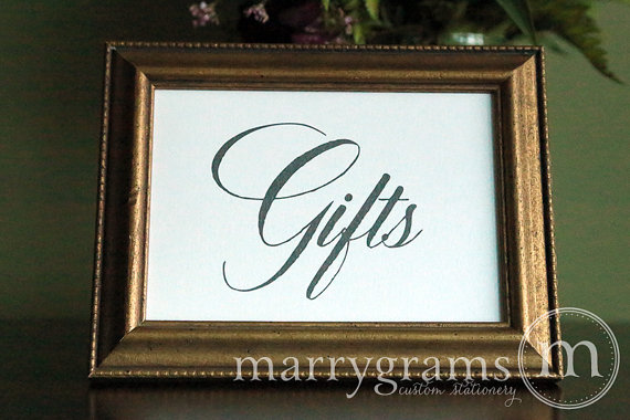 Mariage - Wedding Gifts Table Sign - Wedding Table Reception Seating Signage - Chalkboard Style, Matching Numbers Available Card,Gift Sign SS04