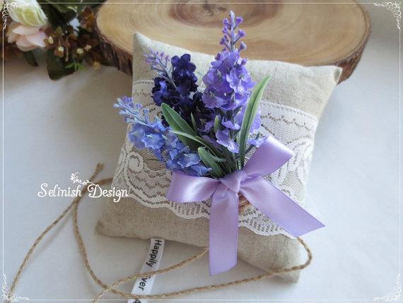 Lavender Burlap Ring Bearer Pillow Vintage Wedding Ring Pillow