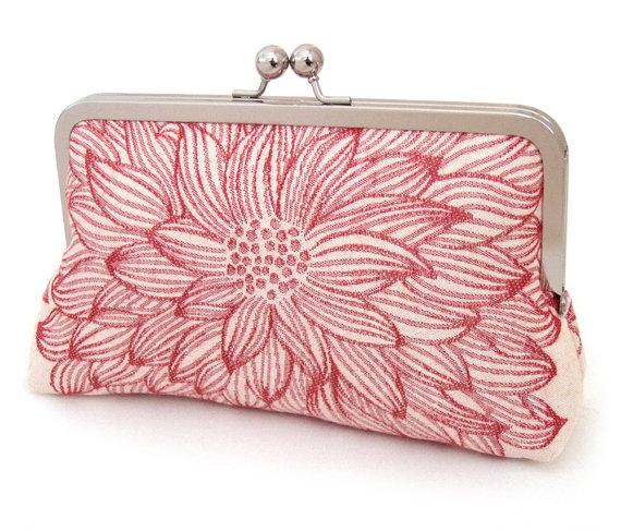 Wedding - SALE: Xanthe red clutch bag, handmade silk-lined purse, wedding accessory, bridesmaid gift, birthday gift