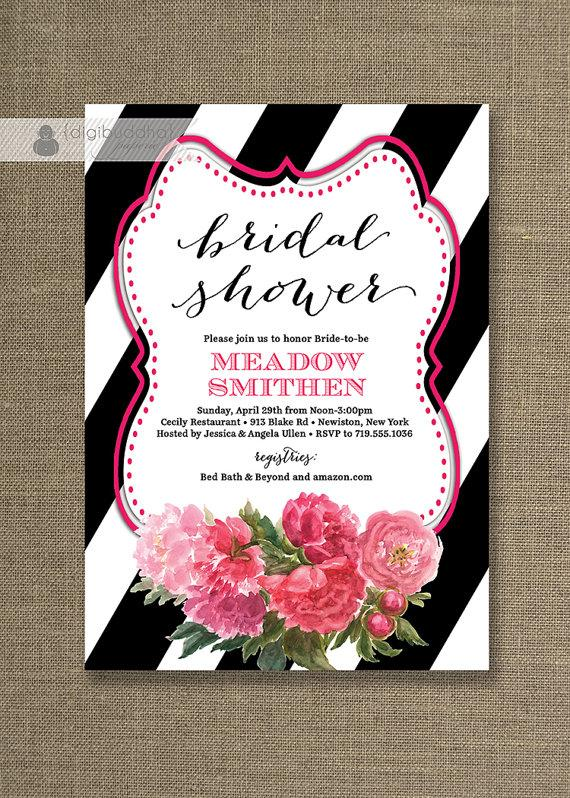 Hochzeit - Black White & Roses Bridal Shower Invitation Pink Flowers Black Striped Fuchsia Modern FREE PRIORITY SHIPPING or DiY Printable- Meadow