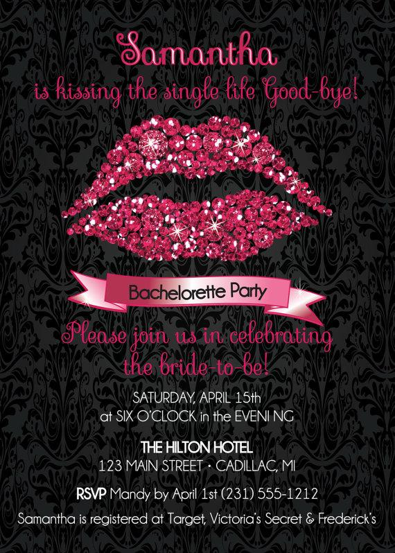 Diamond Lips Bachelorette Invitation U2022 Sparkly Pink Kissing The Single Life  Good Bye Party Invitation