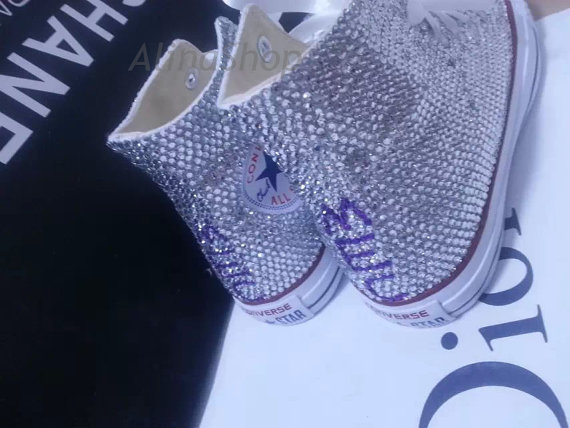 Wedding - initial wedding shoes crystal sneaker wedding converse shoes high top white crystal bridal sneaker sparkly crystal shoes