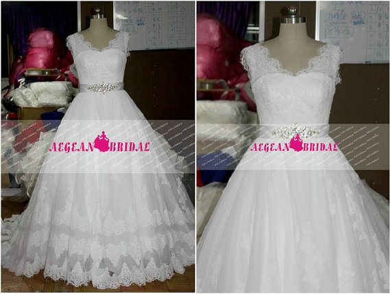 Wedding - RW500 Puffy Lace Wedding Dress with Beaded Sash Ball Gown Bridal Dress with Zipper Back Long Bridal Gown V Neck church Wedding Gown